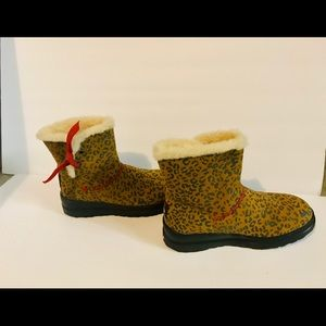 UGG animal print with red accent and rubber sole